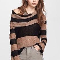 New 98 Free People Taupe/black 'Lulu' Rugby Stripe Cowl Neck Sweater Size M Photo