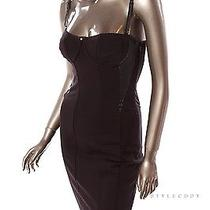 New 98 Guess Womens Black Faux Leather Panel Corset Sheath Dress Sz S Gs0015 Photo