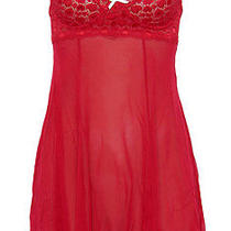 New 98 Only Eberjey Heart to Heart Chemise Red M/l Photo
