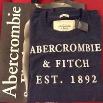 New Abercrombie & Fitch a&f Men Graphic Cotton Crew Tees Shirt Sz L Navy Solid Photo