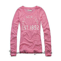 New Abercrombie & Fitch for Women  a&f Elicia Shine L/s Tee Shirt 44  Pink L Photo