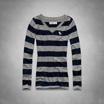 New Abercrombie & Fitch Kids a&f Girls L/s v-Neck Tee T Shirt Gray Grey Stripe S Photo