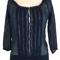 New Abercrombie & Fitch Womens Shirt Valerie Top Chiffon Blouse Navy Blue Xs 58 Photo