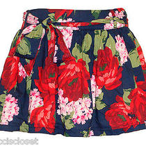 New Abercrombie & Fitch Womens Skirt Kaylie Floral Belted Mini Navy Blue M 68 Photo