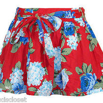 New Abercrombie & Fitch Womens Skirt Kaylie Floral Print Mini Red Blue Sz Xs 68 Photo