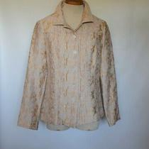 New Additions by Chico's Beige Gold Silky Floral Brocade Blazer Jacket Sz 0 S/m  Photo