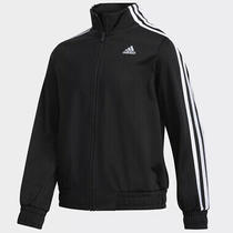 New Adidas Track Jacket Full Zip Cropped Black Striped Unisex Youth Size 14 Photo