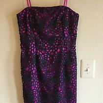 New Adrianna Papell 6 Purple Black Lace Sheath Dress Straps Strapless Pink  Photo