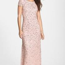 New Adrianna Papell Chic Blush Pink Sequin Beaded Embellished Mesh Gown Dress 12 Photo