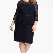 New Adrianna Papell Peplum Lace Sheath Dress Plus Size 16w Color Navy Blue Photo