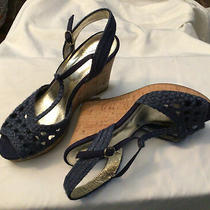 New Adrianna Papell Womens Woven Navy Cork Wedge Sandal Heel Size 8 Photo