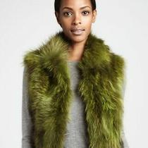 New Adrienne Landau Neiman Marcus Green Raccoon Fur Sleeveless Coat Vest L Photo