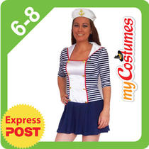 New Adults Ladies Fancy Dress 3/4 Sailor Dress Navy White 6 8 Photo