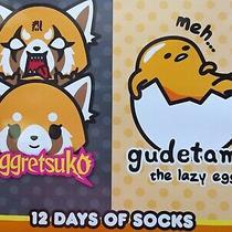 New Advent Aggretsuko Gudetama 12 Days of Socks Unisex Size 9-11 Shoe Size 4-10 Photo