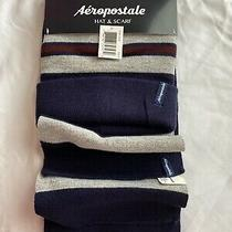 New- Aeropostale Hat and Scarf Set- Blue/white/red- 100% Acrylic- Nwt Photo
