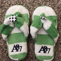 New Aeropostale Juniors Womens Slippers Flip Flop Green White Size Small 5/6 Photo