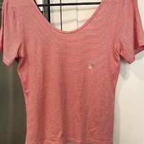 New Aeropostale Orange & White Striped Crop Top Womens Jrs Size L Rayon Blend Photo