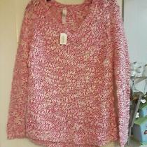 New Aeropostale Women Pink White Marl v-Neck Chunky Sweater Nwt Size L Large Photo
