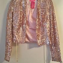 New Agaci Sequin Blazer Blush Size Large Photo