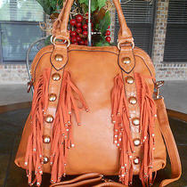 New 'Ahb' Croc Stud Stone & Fringe Dome Tote W/ Strap  Orange Photo