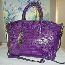 New 'Alc' Lilah 100% Genuine Italian Leather Croc Tote W/ Strap- Purple Photo