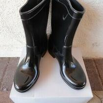 New Aldo Black Shiny Fashion Ankle Rubber Rain Boots Size 38 / Women's 7-8 Photo
