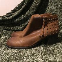 New Aldo Brown Oiled Leather Zipper Half Back Spiked Ankle Booties Boots 9 Photo