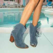 New Aldo Desert Star Blue Suede Leather Fringe Boots Booties Heeled Shoe 8  38.5 Photo