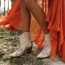 New Aldo Runway Leather Beige W/ Rainbow Stars Boots Booties Heeled Shoe 8.5  39 Photo
