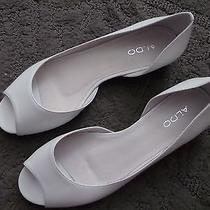 New Aldo Women's White Open Toe Ballet Flats Size 10 Photo