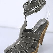 New Alexander Wang Abbey Ankle Strap Sandals Sz 38 Suede Gray Caged Heels 495 Photo