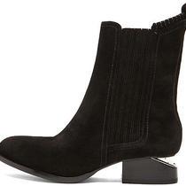 New Alexander Wang Anouck Chelsea Notch Heel Silver Ankle Boots Black 36 6 620 Photo