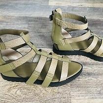 New Alexander Wang Saskia Khaki Olive Green Leather Gladiator Strappy Sandals 39 Photo