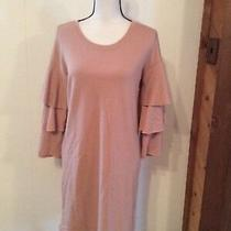 New Almost Famous Blush Pink Sweatshirt Knit Dress Ruffle Sleeve Comfortable M Photo