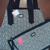 New Ame & Lulu Wish Black White Design Beach Bag Golf Tote Handbag Free Clutch  Photo