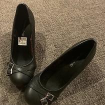 New American Eagle Ae Womens Black Wedge Heels Shoes Sz 6 Nwob Photo