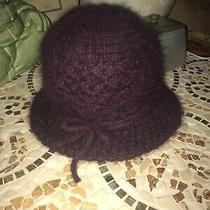 New Angora Knit Plum Purple Burgundy Bucket Style Hat With Bow- One Size Os Photo