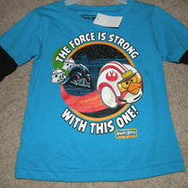 New Angry Birds Star Wars the Force Is Strong Darth Vader Boys 2t Aqua Ls Tshirt Photo