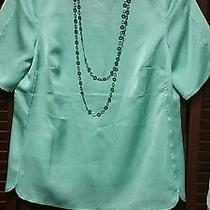 New Ann Taylor Green Zip Back Blouse W/necklace- Size 8  Photo