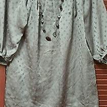 New Ann Taylor Loft Grey Dot Print Blouse With Necklace - Size Medium  Photo