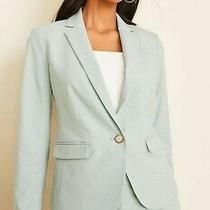 New Ann Taylor One-Button Blazer in End on End in Pale Teal Size 14 Photo