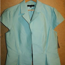 New Anne Klein Aqua Cap Sleeve Spring Summer Career Topper Jacket 16 Xl Nwt Photo