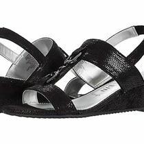 New Anne Klein Black Wedge Comfort Sandals  Size 8 M 80  Photo