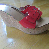 New Anne Klein Bright Patent Leather Red Wedge Sandals Size 9 M Photo