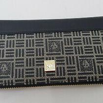 New  Anne Klein Slim Zip Around Wristlet Clutch  Wallet Black  Logo Fashion Cute Photo