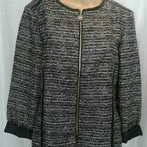 New Anne Klein Womens Size 8 Black & Gray Long Sleeve Sweater Jacket Full Zip Photo