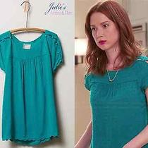New Anthropologie Clipdot Buttoned Tee 4 Lcharming Teal Scallop Blouse on Tv Photo