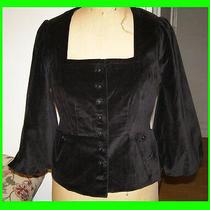New Anthropologie Elevenses Black Velvet Blazer Size 8 Steampunk Goth Jacket Photo