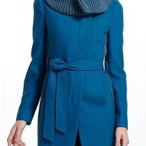 New Anthropologie Elevenses Judith Collar Coat Color Turquoise Size 14 Photo