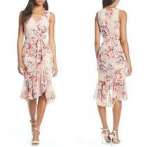 New Anthropologie Eliza J Blush Floral Ruched Chiffon Faux Wrap Ruffle Dress 6 Photo